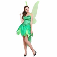 Cosplaydiy Tinker Bell Dress Tinkerbell Dress Princess Women Party Green Dress With Wig L0516