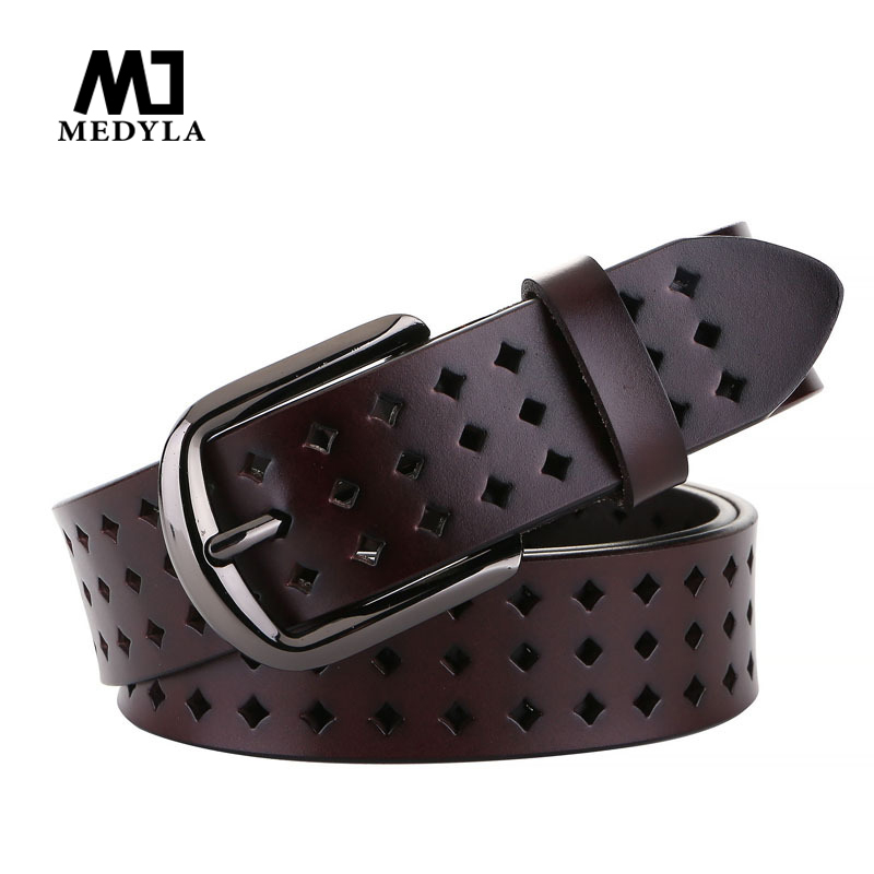 MEDYLA XL Female Belt Natural Leather Hollow Belt For Women Plus 3.7cm Wide Women's Belt For Jeans Casual Pants
