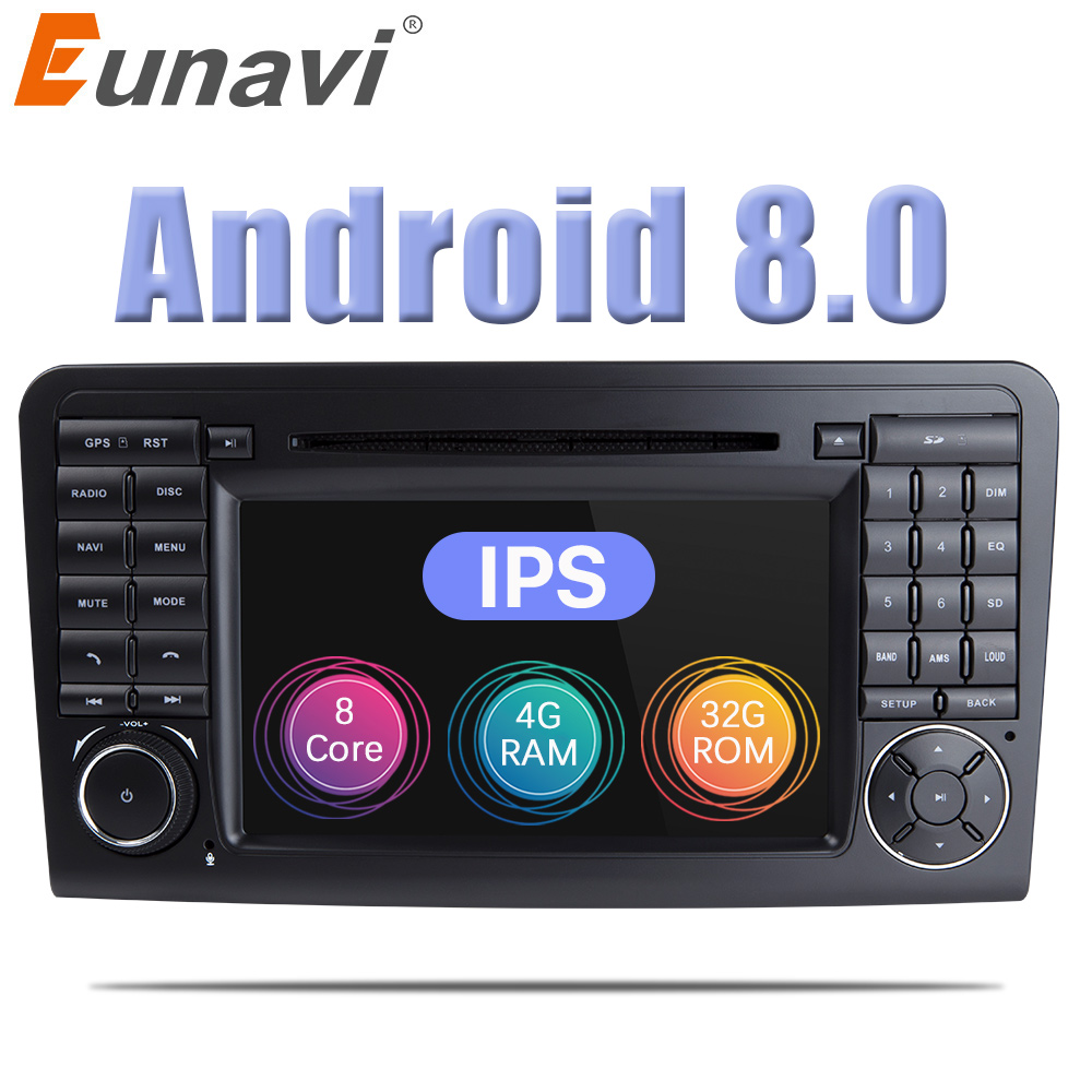 Eunavi 2 Din Android 8.0 WiFi GPS Navi Octa 8 Core Blotooth Stereo Lettore DVD Dell'automobile Per Benz ML CLASS w164 ML300 ML350 ML450 ML500