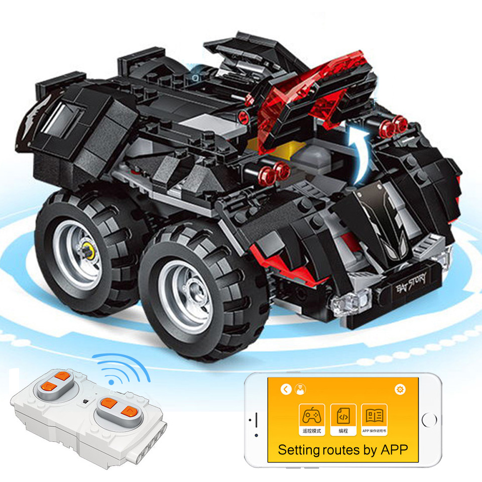 App Controlled Batmobile Compatible With Legoing 76112 Batman Model Building Blocks RC Cars Boy Gifts Toys For Children