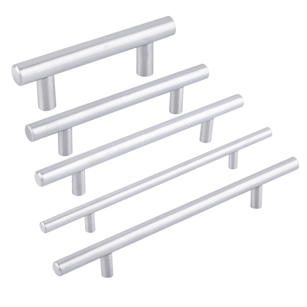 Probrico Diameter 12mm Hole Cebter 64mm~300mm Stainless Steel Kitchen Cabinet Door T Bar Knob Furniture Drawer Handles Pulls 2pcs set stainless steel 90 degree self closing cabinet closet door hinges home roomfurniture hardware accessories supply
