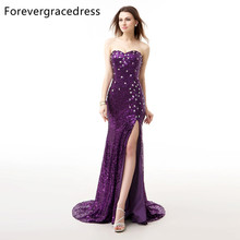 Forevergracedress Real Photos Purple Evening Dress Mermaid Sleeveless Sequins Split Lace Up Long Formal Party Gown Plus Size