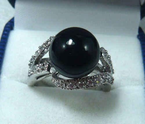 Noblest 10 มม. สีดำ agates ใหม่แหวน (#6,7, 8,9) จัดส่งฟรี