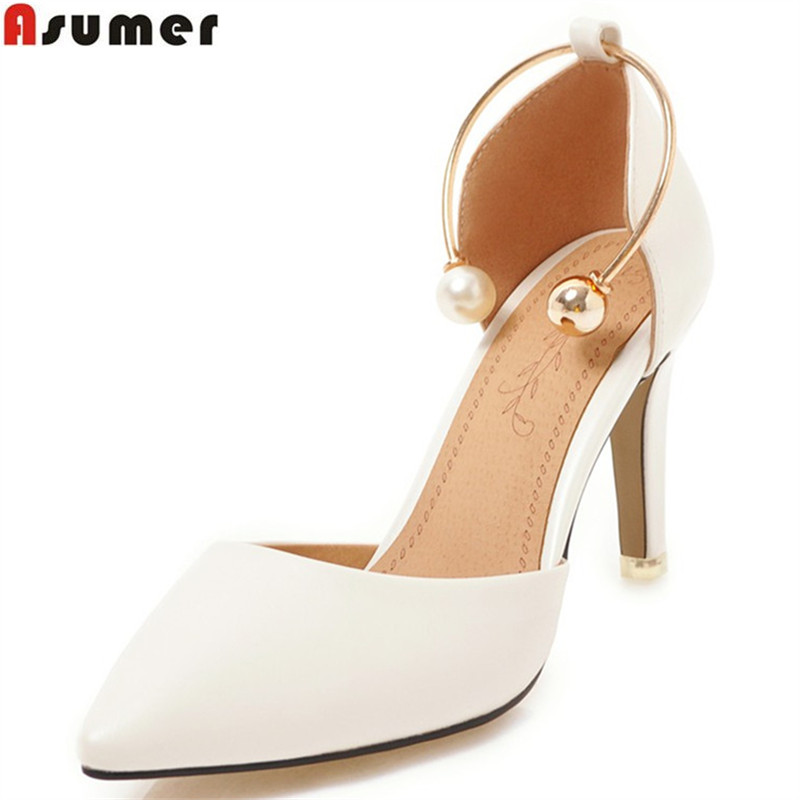 ASUMER black pink 2018 fashion new arrival pumps women shoes pointed toe wedding shoes woman high heels shoes plus size 33-46