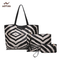 ADIYATE The Zebra Stripes Fashion All Match Brief Picture Package Shoulder Bag Large Capacity Women S