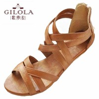 Size 34 43 New 2014 Low Heel Flat Women Sandals For Women Flats And Women S