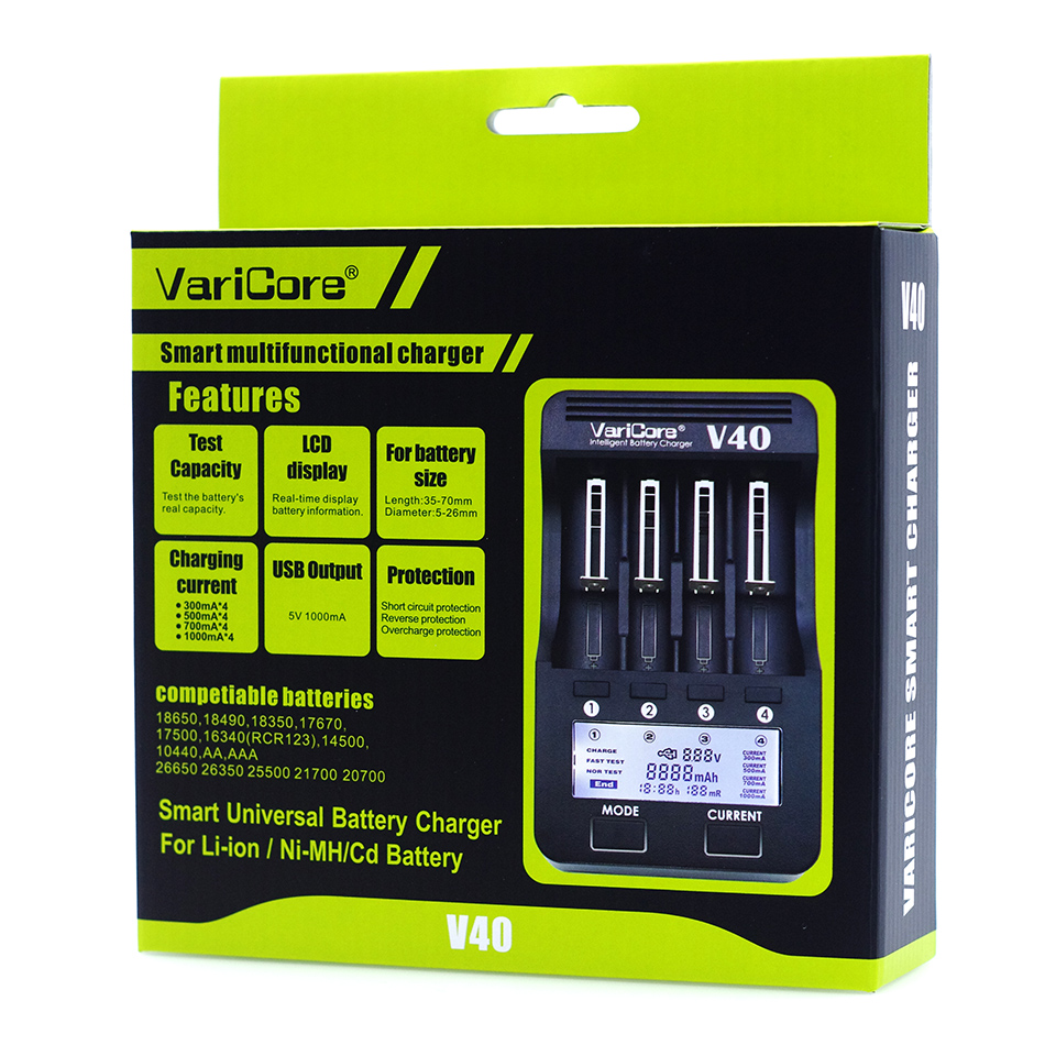 2019 VariCore V40 LCD e cigarette Battery Charger 3 7V 18650 26650 18500 16340 14500 18350 lithium battery 1 2V NiMH batteries in Chargers from Consumer Electronics