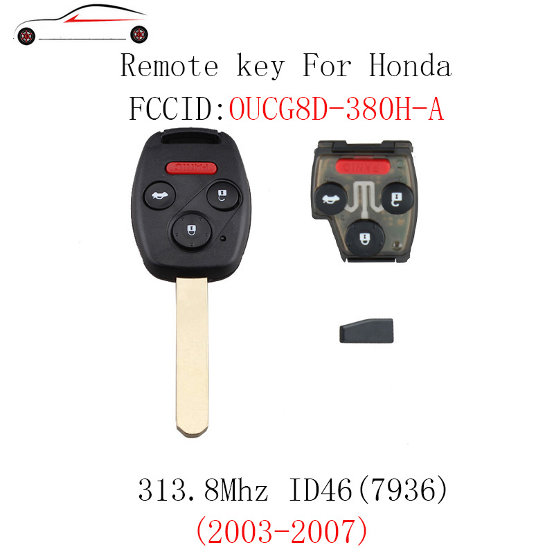 GORBIN 4Buttons 313.8Mhz Car Remote Keyless Key For Honda Accord 2003 2004 2005 2006 2007 OUCG8D-380H-A ID46 chip Original key