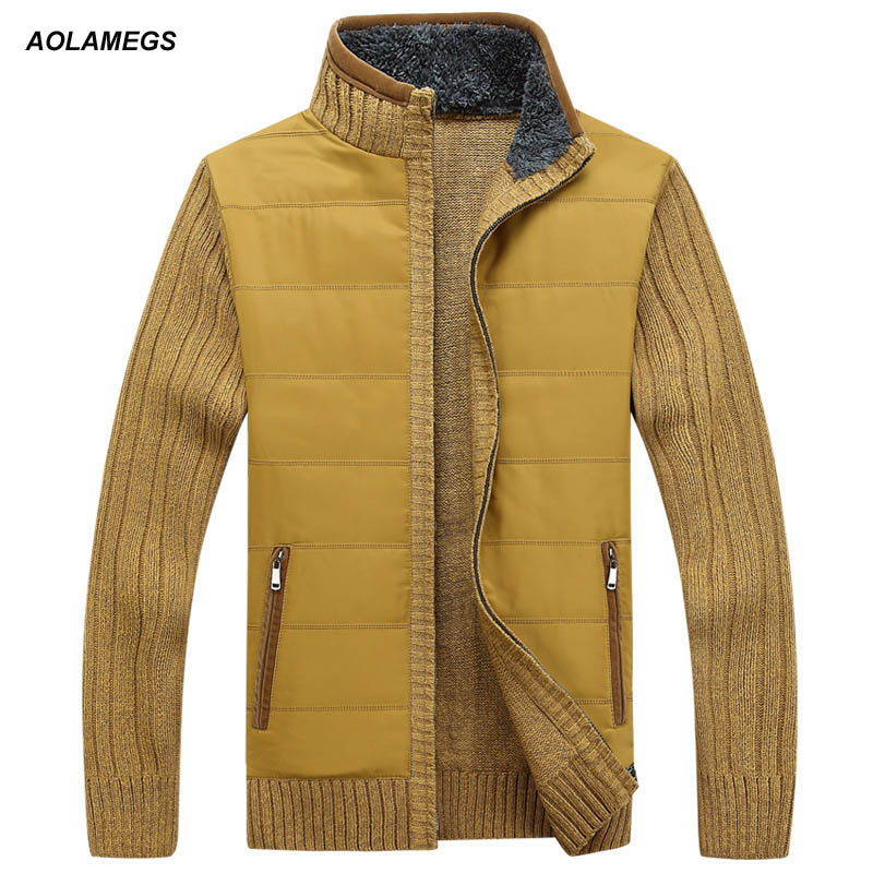 Aolamegs Sweater Men Autumn Winter Thick Collar Male Cardigan 2016 Fashion Brand Clothing Outwear Knitting Sweter Hombre M-3XL