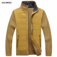 Aolamegs Sweter mężczyźni jesień zima gruby kołnierz męski Sweter 2016 moda marka odzież znosić Knitting Sweter Hombre M-3XL