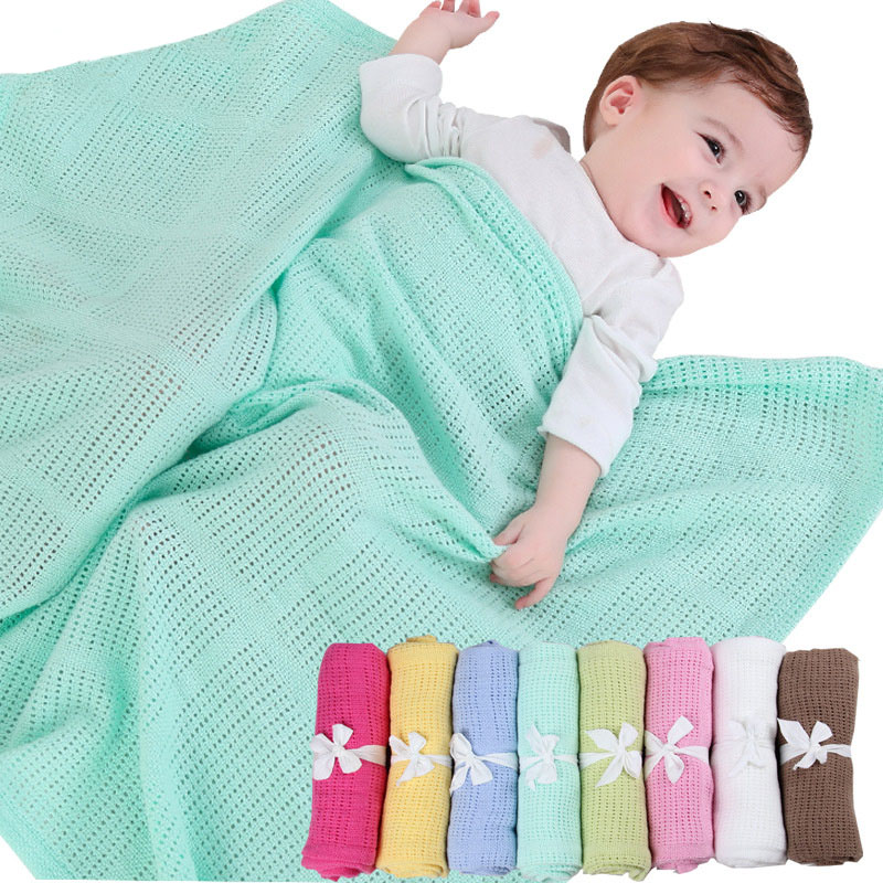 Newborn Baby Blankets Super Soft Cotton Crochet Summer 80*100cm Candy Color Prop Crib Casual Sleeping Bed Supplies Hole Wrap