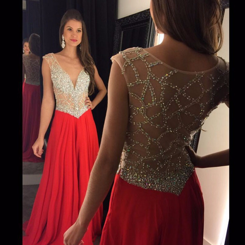 Fashion Luxury Red Long   Prom     Dress   2019 Elegant Low Chest Crystal Beaded Women Pageant Gown Formal Evening Party   Dresses