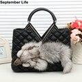 Women Leather Handbags Design Faux Fur Shoulder Bags Diamonds Messenger Bags Coin Purse Clutch Bolsas