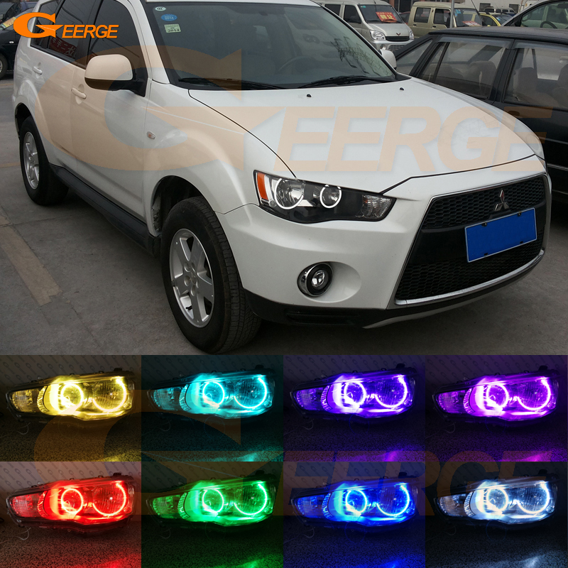For Mitsubishi Outlander 2010 2011 Halogen headlight perfect compatible Multi-Color Ultra bright RGB LED Angel Eyes kit