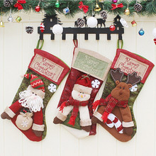 Christmas Socks Gift Bags Large Cartoon Santa Claus Snowman Elk Home Decorations Window Dressing Candy Bag Drop Shipping 1pc