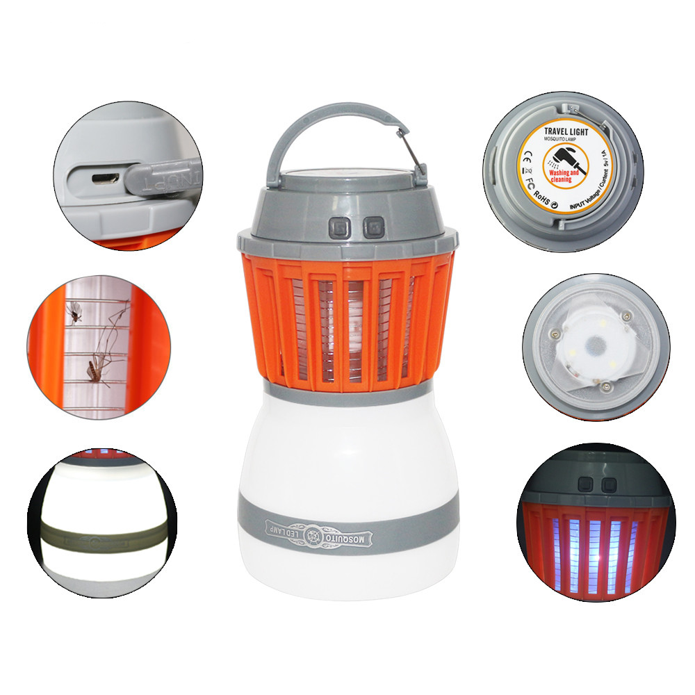 2 in1 Portable Lantern LED Camping Light Waterproof Mosquito Killer Lamp Pest Repeller 2000mAh Rechargeable Battery Gift
