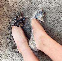 Luxury Crystal Embellished High Heel Pumps For Women Pointed Toe Slip on Bride Wedding Dress Shoes Newest Formal Pumps