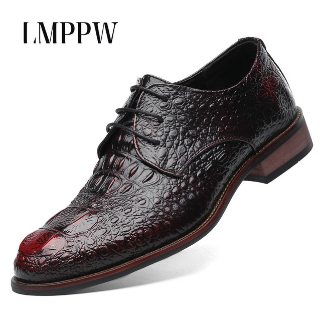 Gaya inggris pria Sepatu Fashion Asli Sepatu Kulit Buaya Klasik Bisnis  Kasual Gaun Buatan Tangan Sepatu 850e949ff5