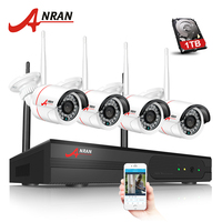 4CH CCTV System Wireless NVR Kit P2P 720P HD Outdoor IR Night Vision H 264 Security