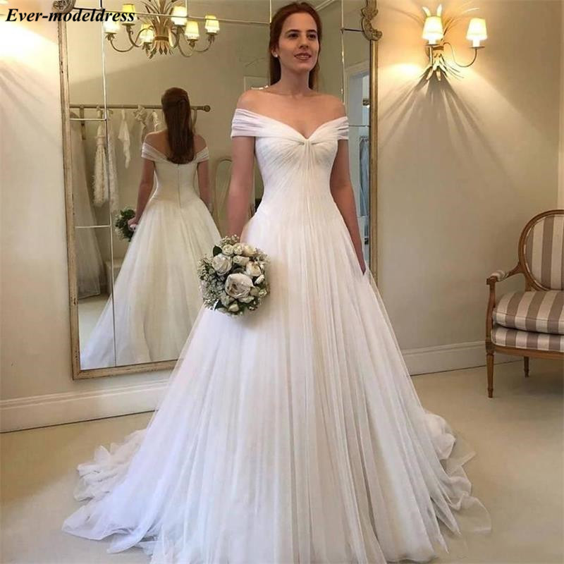 2020 Simple Wedding Dresses Off The Shoulder Pleats Zipper Back A-Line Bridal Gowns Plus Size Vestido De Novia Sirena