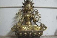 27 Tibet Folk Buddhism Bronze Gild White TaRa Bodhisattva Kwan-Yin Buddha Statue