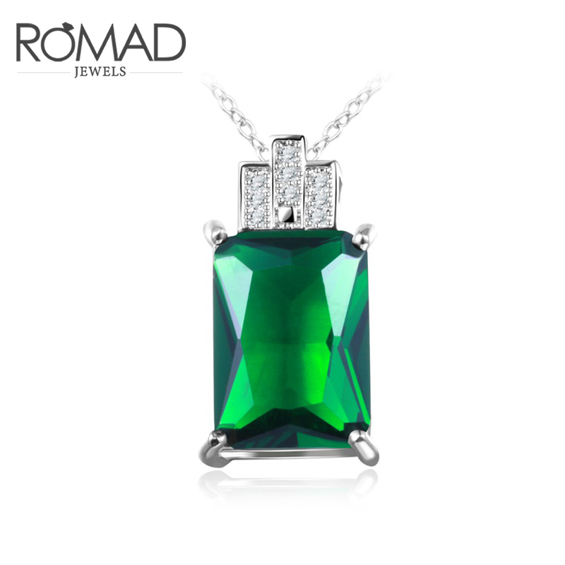 ROMAD Noble Big Green Color Square Stone Pendant Necklace for Women Female Mother Creative Fashion Jewelry Hot Sale In Store