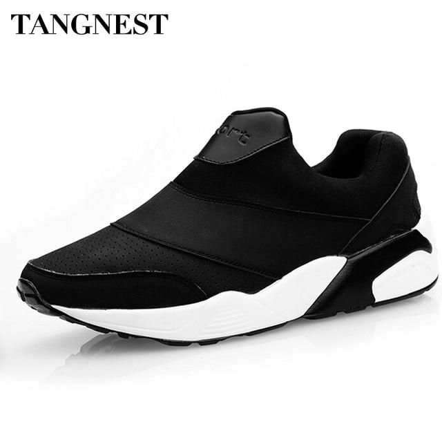 Tangnest Moda Estilo Coreano de Los Hombres Mocasines 2017 Zapatos de Los Hombres Respirables Casual Slip On Zapatos de Los Planos de Los Hombres 3 Colores Tamaño 39-44 XMB500