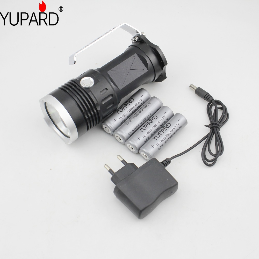 YUPARD 3* XM-L2 LED T6 Spotlight Searchlight Flashlight torch lamp light 18650 battery 5500 Lm+4* 2200mAh 18650 Battery+Charger led xm l2 flashlight 8000lumens tactical flashlight hunting flash light torch lamp 18650 battery charger gun mount