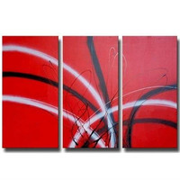 Handmade Graffiti Lines Painting Handpainted Abstract Red Oil Paintings On Canvas Modern Home Decor Wall Arts