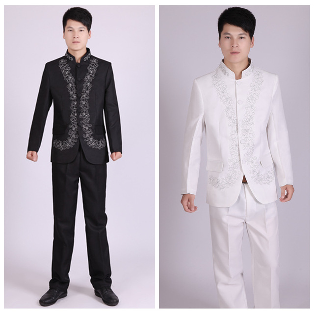 90ae34224 New Arrival Traditional Chinese Clothing Embroidered Men Chinese Tunic Suit  Set Mens Suits Wedding Groom Formal Dress Costume