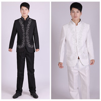 New Arrival Traditional Chinese Clothing Embroidered Men Chinese Tunic Suit Set Mens Suits Wedding Groom Formal Dress Costume