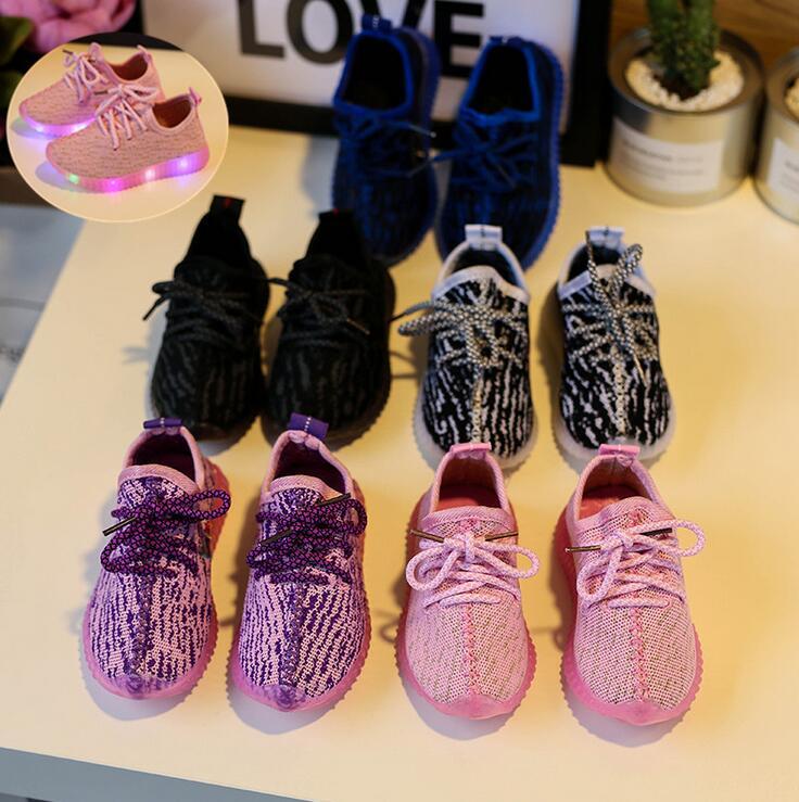 2017 Children casual Fashion Boys Girls flyknit shoes gir boy Shoes Sport Running Shoes LED Light Shoes 5colors 21-30 TX07