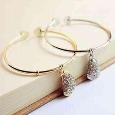 Pedido mínimo de $10 (pedido mixto) envío Gratis estilo Simple de imitación de moda de diamantes de imitación de corazón de melocotón pulsera para niña B52/B53 8g
