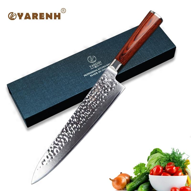 YARENH 10 pouce Couperet Couteau Professionnel Chef Couteaux Avec Manche En Bois Tranchant Japonais VG10 Damas Couteau de Cuisine En Acier