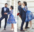 Arabic Blue Lace Knee-length Long Sleeves Homecoming Dresses in Dubai Middle East A-line Short Prom Dress Cocktail Party Gowns
