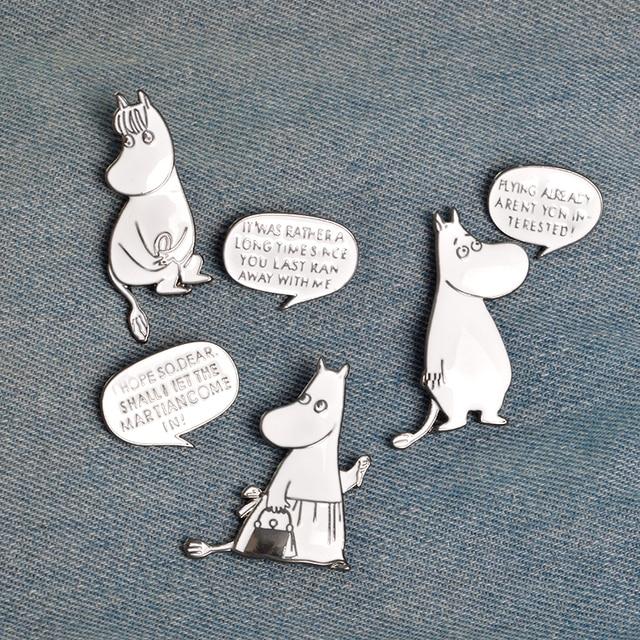 3pcs/set Animal Hippo Brooch Pins Buckle White Enamel Pin Denim jacket Shirt Pin