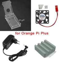 Оранжевый Pi плюс комплект прозрачный акриловый чехол коробка + Процессор Вентилятор охлаждения + 5 В 3A Питание + теплоотвод Для Оранжевый Pi плюс плата