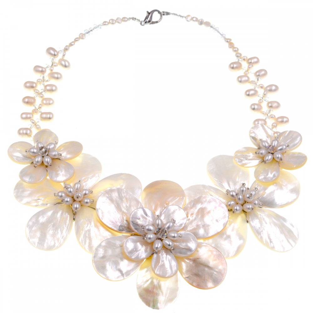 Trendy fashion New Design White Sea shell Freshwater Pearl woven flower choker
