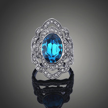 Фотография 2017 vintage Original Brand Designer antique silver Color Austria blue Crystal Fashion zircon Rings for Women engagement gift