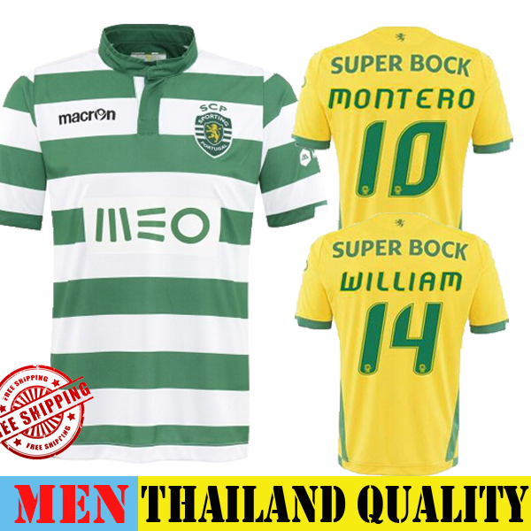 4563b1a851f Sporting CP Jersey 2015 Home Blue Sporting Lisbon Soccer Jersey 14 15  SLIMANI 9 MONTERO 10 Football Shirt Away Yellow Training