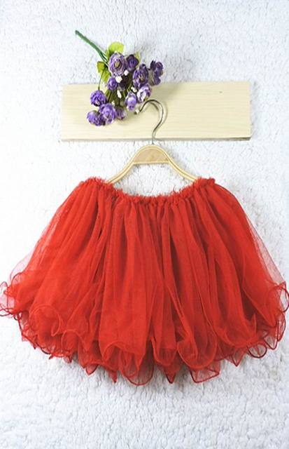 2016 New Girls Skirts Children Kids 2 Layer Red Fluffy TUTU Skirts 2-7T 1555