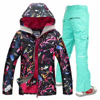 Free shipping waterproof jacket Gsou snow ski suit set womens snowboard jackets ski suit women skiing set