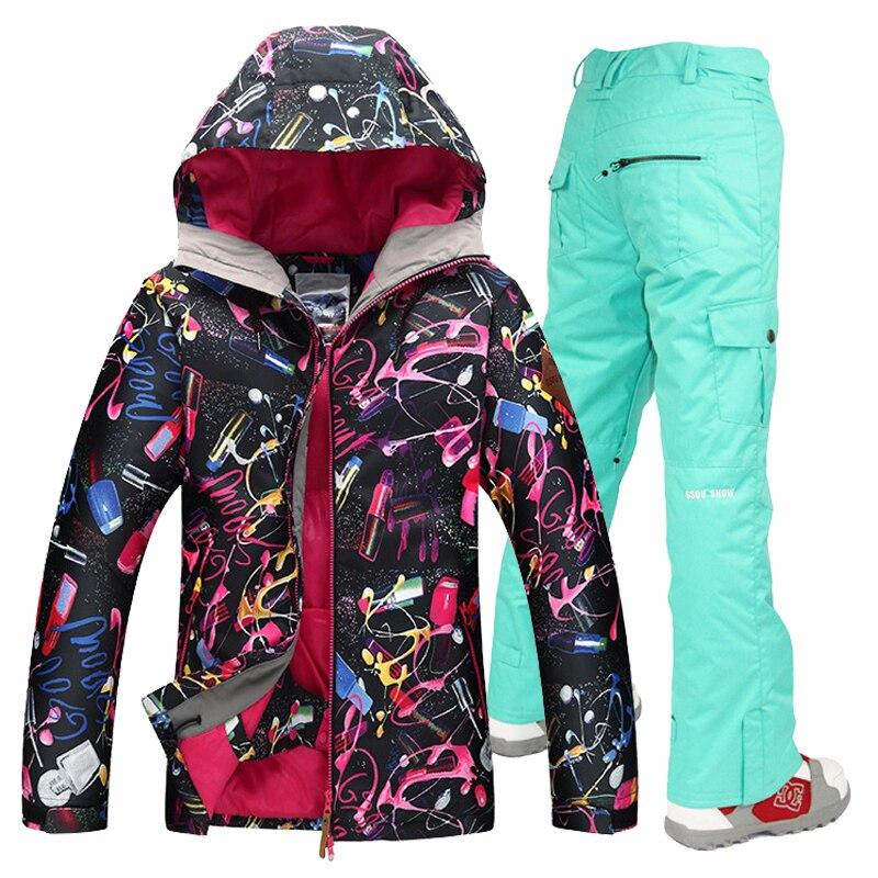 Livraison gratuite étanche veste Gsou snow ski costume ensemble femmes snowboard vestes combinaison de ski femmes de ski ensemble