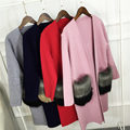 2017 New Women Autumn Cashmere Cardigan Fashion V-Neck Knit Shirt Slim Korean Version Coat Female Fur Long Sweater Hot Sale B66