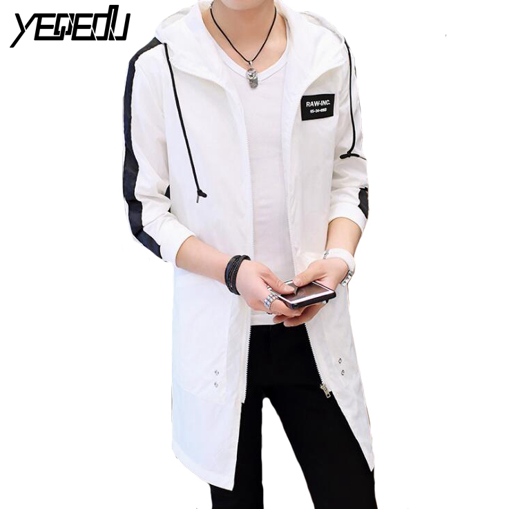 #3018 Spring Thin Sunscreen   Trench   Coat For Men Hooded Harajuku Hip Hop Homme Plus Size Trenchcoat White Black Overcoat Mens 5XL