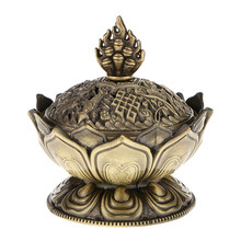 Lotus Stick CONE Holder Backflow AROMA SMOKE Incense Burner Censer Bronze(China)