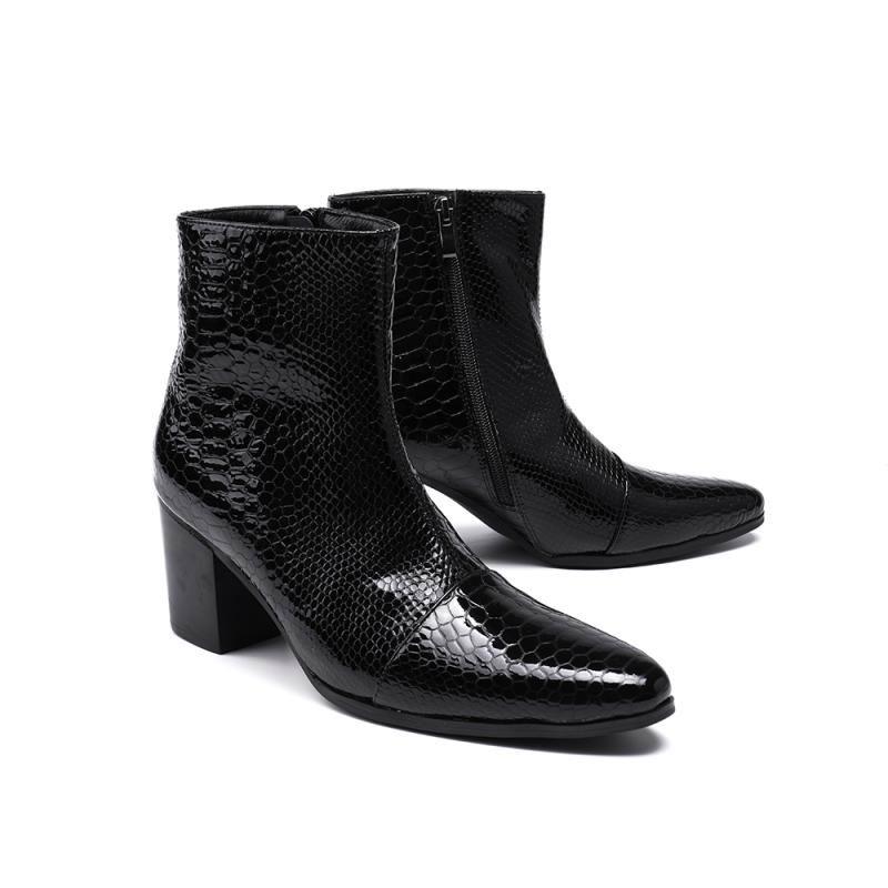 Mode Heel Schwarzes High Top Personalisierte Waden Errfc Patent Muster Schwarz Boot Designer Schuhe Leder Python Schlange Männer Mittlere 0gaTF