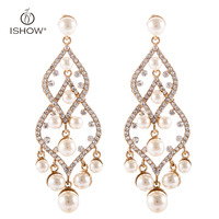 New Pearl Earrings Women Long Statement Chandelier Crystal Wedding Jewelry Pendientes Largos Brincos Orecchini Bijoux Kupe