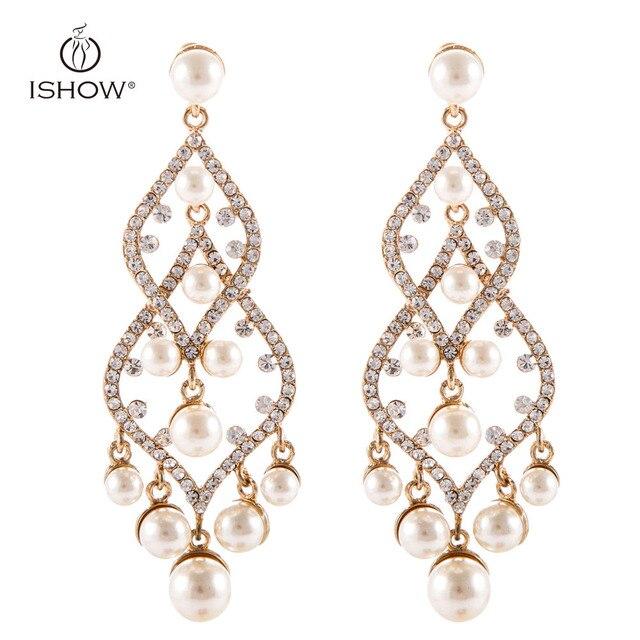 598eec1d6514ad New Pearl earrings Women Long Statement Chandelier Crystal Wedding Jewelry  Pendientes largos Brincos Orecchini Bijoux Kupe