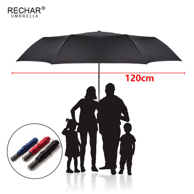 RECHAR Brand High Quality Large 120cm 3Folding Umbrella Rain Men Women Golf Business Gift Automatic Windproof Man Woman Umbrella